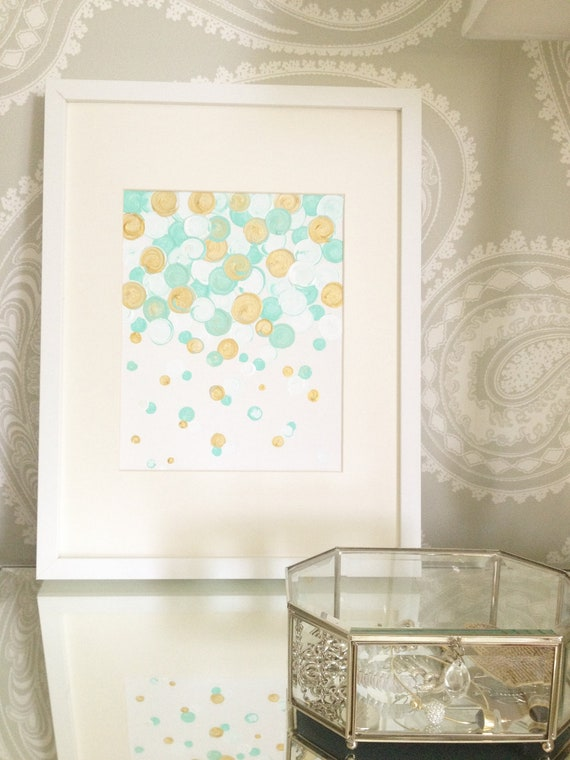 "8""x10"" (flat) Canvas Painting- Confetti: Mint & Gold"