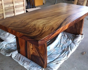 Straight Edge Dining Table Reclaimed Solid Slab Acacia Wood (Extremely Rare)