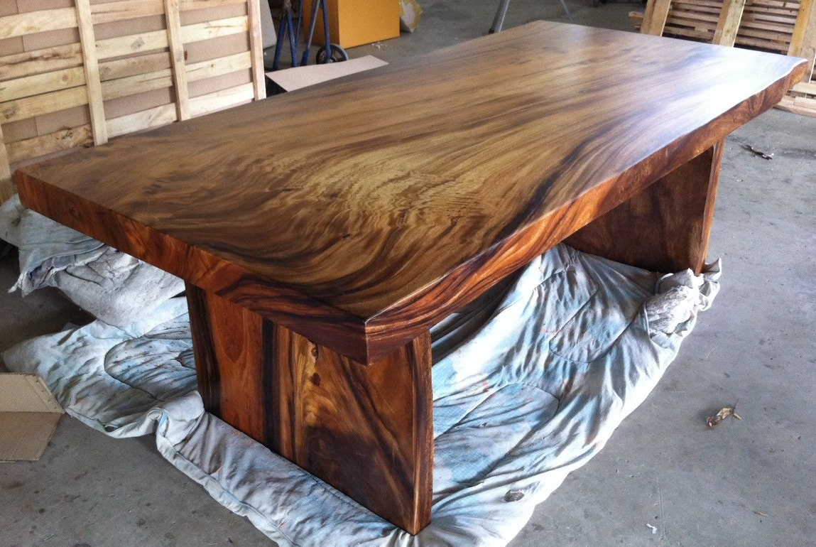 Live edge dining table reclaimed solid slab acacia wood for Solid wood dining table