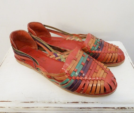 Vintage Mexican Colorful Leather Huarache Sandals Shoes 11 M