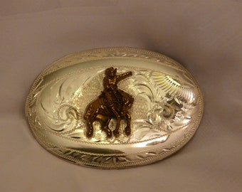 Belt Buckle Sterling Silver Rodeo Cowboy