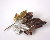 Vintage 1970s Silver Gold and Copper Brooch Pin // Avant Garde // Leaves // Fall // Autumn