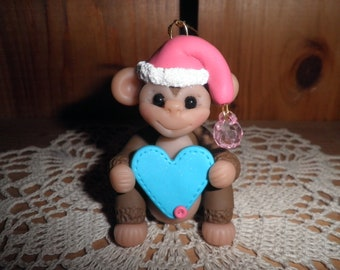 Polymer Clay Monkey -Personalized Monkey With Santa Hat Ornament/Gift