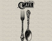 Cafe Spoon Fork Kitchen Decor Wall Decor Art Print Printable Digital Download for Iron on Transfer Fabric Pillows Tea Towels DT1104