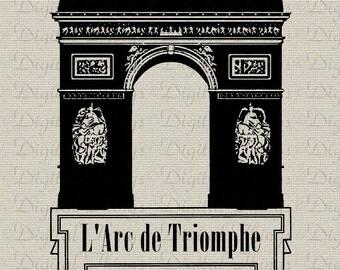 Arc de Triomphe Paris French Script  French Decor Printable Digital Download for Iron on Transfer Fabric Pillow Tea Towel DT1095