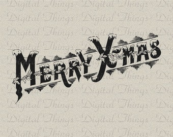 Merry Christmas Xmas Script Typography Wall Decor Art Printable Digital Download for Iron on Transfer to Fabric Pillow Tea Towel DT1204