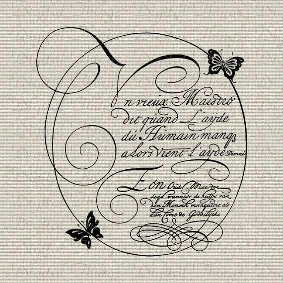 French Script Calligraphy Butterflies Wall Decor Art Printable