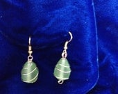 Green Frosted Dangle Earrings/ Gold Wires