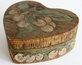 Vintage 1900s Pyrography Wood Burned Cherries Heart Shaped Keepsake Memento Sweetheart Box