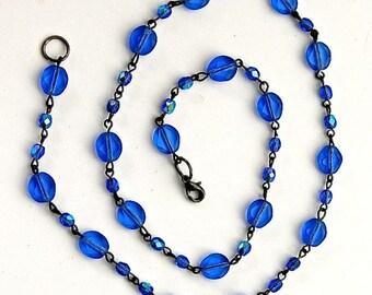 """Blue Facet Czech Glass Beaded Gunmetal Chain Necklace, 20"""", 1 each"""