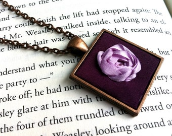 Purple Silk Ribbon Embroidered Rose Pendant Necklace - Embroidery by BeanTown Embroidery
