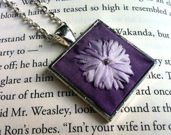 Purple and Lavender Flower Embroidered Pendant Necklace - Silk Ribbon Embroidered Jewelry by BeanTown Embroidery