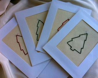 SALE - Embroidered Christmas Cards, Set of Four - by BeanTown Embroidery