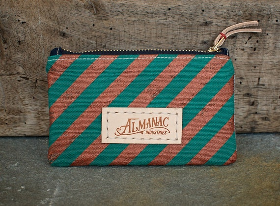 Small Zip Case - Teal w/ Copper Stripe