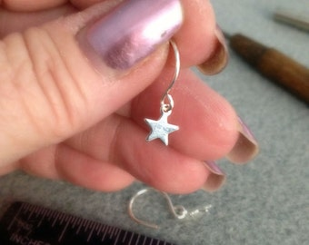 Tiny Earrings Tiny Star Pierced Silverplated