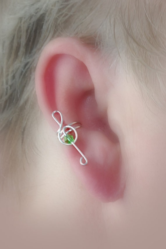 Treble Clef Ear Cuff STERLING W/ Crystal/Choice of Colors Non Pierced
