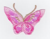 1 pink butterflies butterfly embroidered iron on applique patch