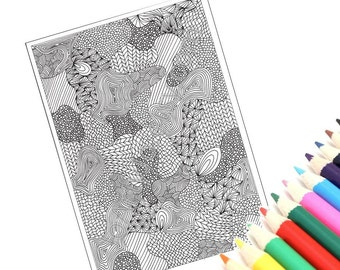 Zentangle Inspired Printable Coloring Page, Intricate Zendoodle Pattern, Page 30