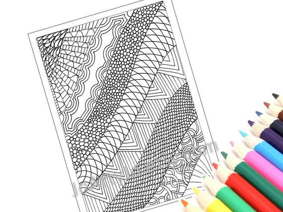 Printable Coloring Page, Zentangle Inspired PDF Zendoodle Pattern, Page 19