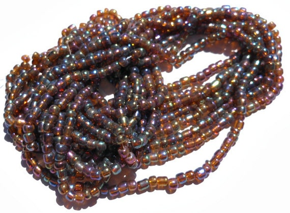 Set of 8 Strands Hank Brown Seed Beads with Ab Coating