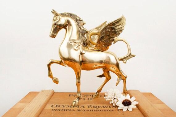 vintage extra large brass horse pegasus figurine