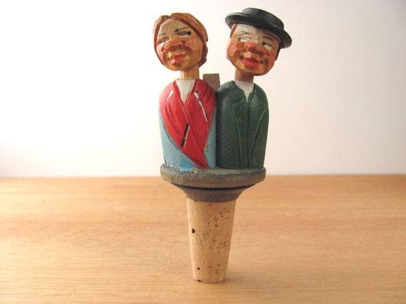 Vintage Hand Carved Cork Bottle Wine Stopper Folk Art