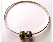 Gold and Silver Skull Bead Bangle