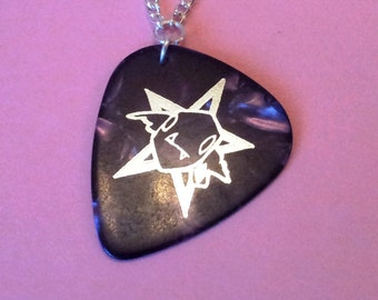 Sale Handmade Purple Pentagram & Goblin Face Guitar Pick Pendant on Silver Tone Chain Gothic Steampunk Emo Punk
