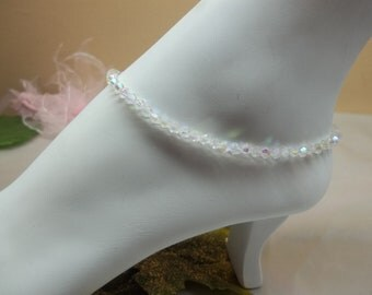 Clear Anklet Clear AB Crystal Anklet Sterling Silver Wedding Jewelry Bridal Jewelry Bridesmaid Gift Swarovski Elements BuyAny3+Get1Free