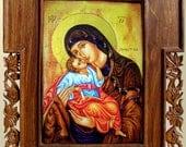 Art Wood Carving, Virgin Mary and Jesus, Orthodox Christian Religious Icon, Byzantine, Wood Wall Art, Home Decor, MariyaArts