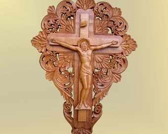 Crucifix,  Jesus Christ, Cross, art wood carving, icon, orthodox, woodcarving, handmade, christian religious, wood wall art, MariyaArts