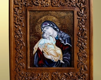 Wall art, wood carving, Virgin Mary and Jesus, Christian religious icon, Byzantine icon, art wood carving, home decor, MariyaArts