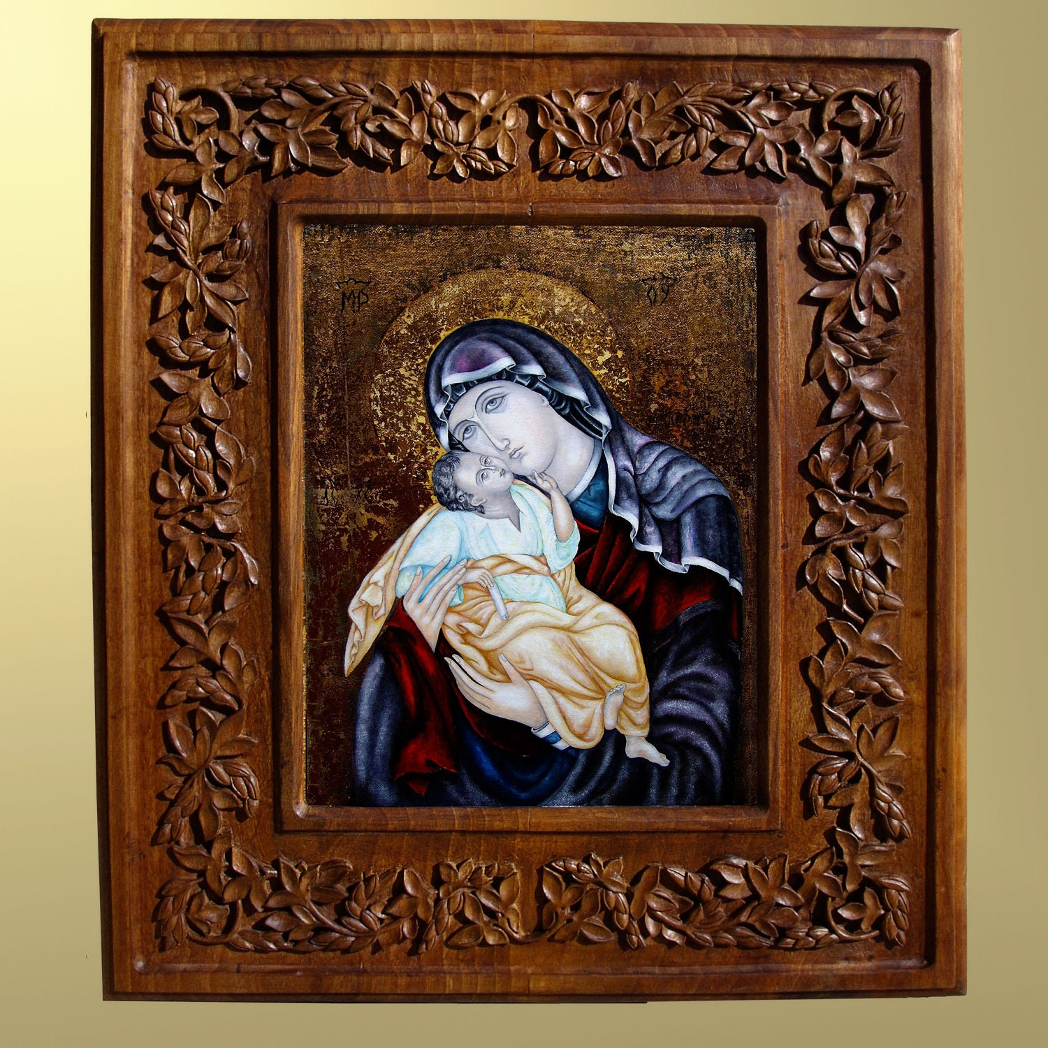 Wall Decor Jesus : Wall art wood carving virgin mary and jesus christian