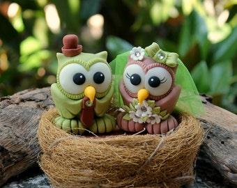 Owl wedding cake topper, love bird cake topper with nest, bride and groom cake topper, fall cake topper, custom personalized cake topper