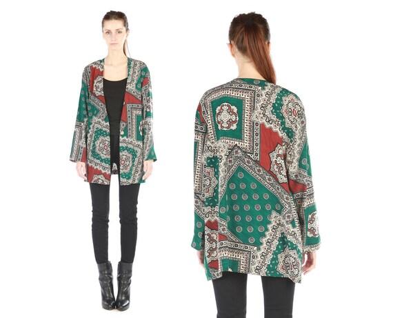 HOLD vintage printed blazer // graphic bandana paisley print // emerald green // large