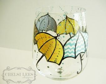 Dancing in the Rain-Umbrella Design- Hand Painted Wine Glass