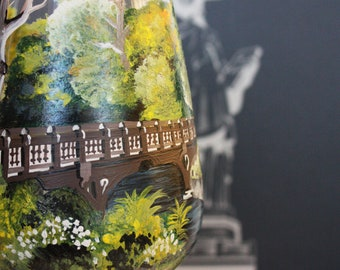 Hand Painted Wine Glass : Bank Rock Bridge - Central Park, New York - 1 Glass