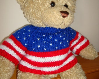 Teddy Bear Sweater - Hand knitted -Stars and Stripes - USA - fits Build a Bear