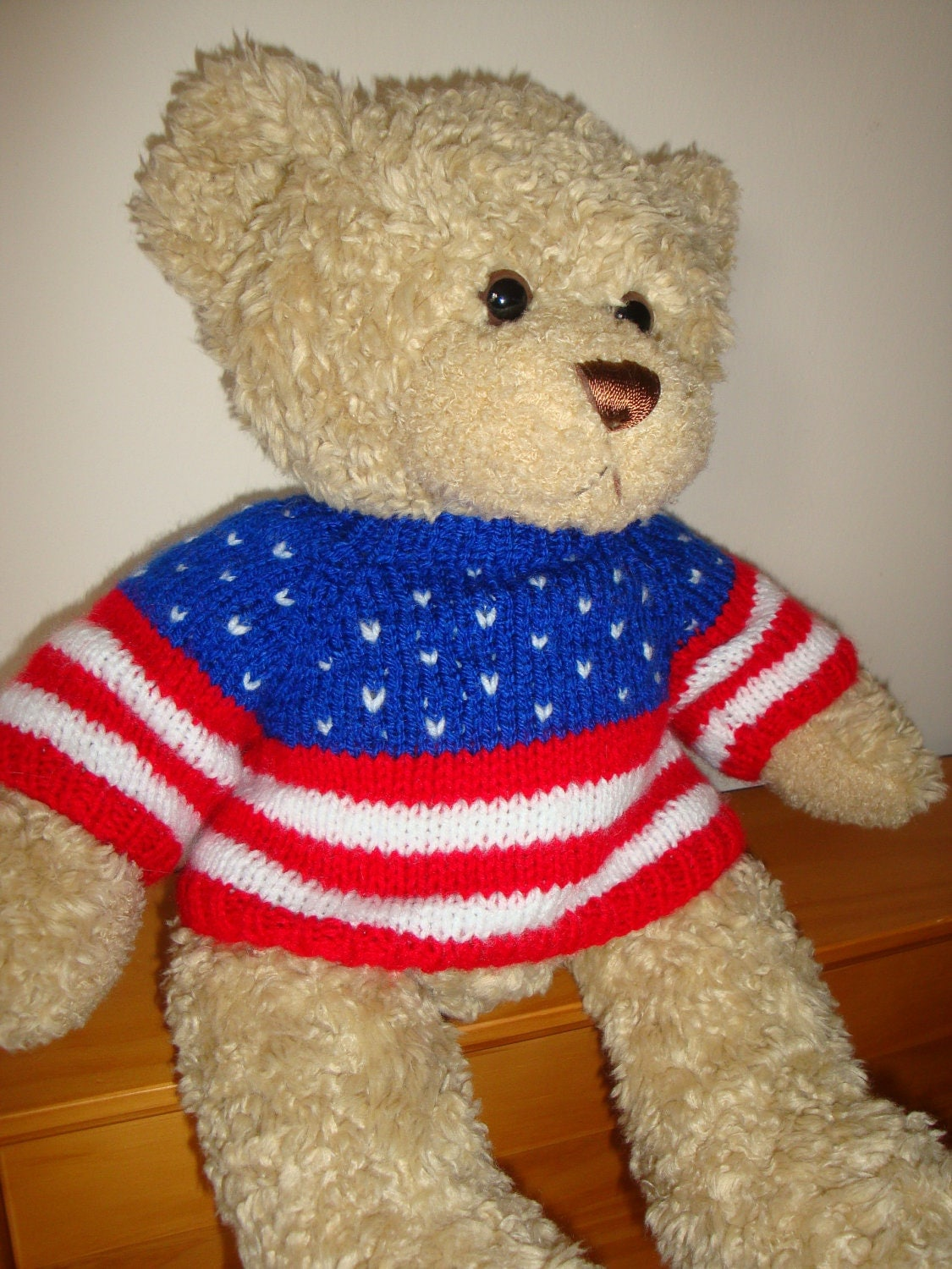 Knitting Pattern For Teddy Bear Sweater : Teddy Bear Sweater Hand knitted Stars and Stripes USA
