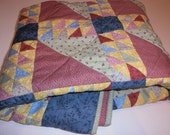 Triangle Quilt, Floral Quilt, Multicolored Quilt, Half Square Triangle Quilt, Blue Quilt, Pink Quilt, Yellow Quilt, Green Quilt