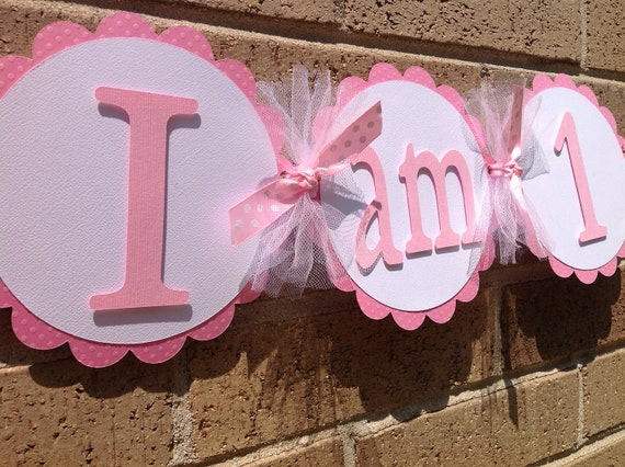 i am 1 high chair banner party banner 1st birthday pink and
