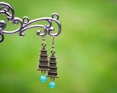 Pretty in Petite Pagoda and Green Aventurine Earrings