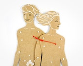 Gay couple - Articulated Art Paper Dolls by Dubrovskaya. Handmade and hand painted gift.