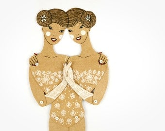 Siamese twins circus freaks articulated art paper doll, hand painted paper puppet, unique gift, greeting card, paper dolls by dubrovskaya