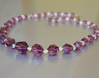 Necklace Crystal Glass Bead Amethyst Lavender Purple Faceted