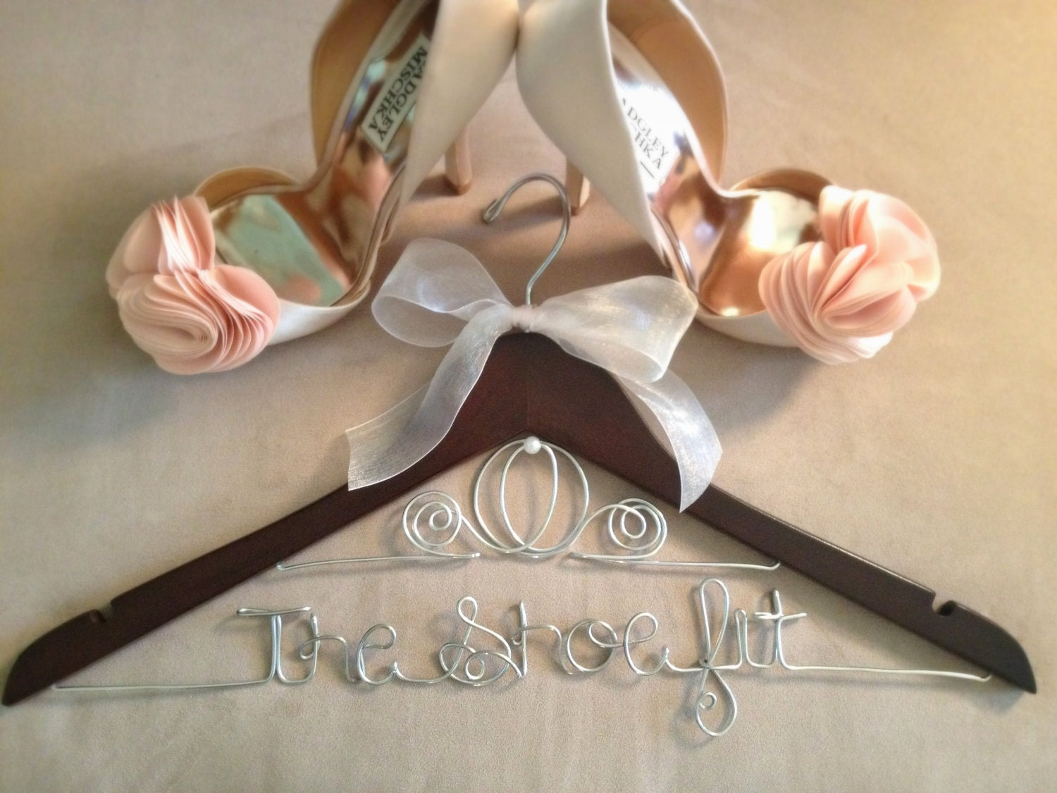 Bridal hanger brides cinderella hanger disney hanger for Wedding dress hangers with name