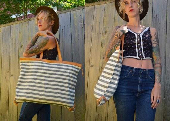 Vintage 1980's Hilton Beachouse Leather & Striped Tote Bag