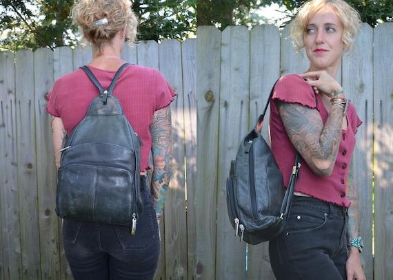 Classic Teardrop 80's Vintage Black Leather Sling Pack Backpack