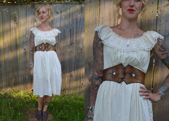 Vintage 70's Summer Ivory Prairie Picnic Dress