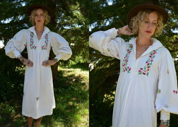 70s Avant Garde Hand Embroidered Indian Cotton Hippie Dress
